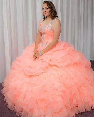 Elegante vestido rosa de bola con cuello en V espagueti de cristal rebordear vestidos de baile_2