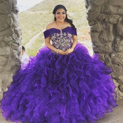 Fshion Purple Ruffles Off the Shoulder Beading Quinceanera Dress_1
