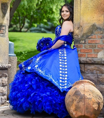 Unique Floral Appliqued Strapless Sweetheart Ruffles Tulle Royal Blue Quince Dresses_2