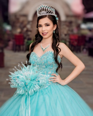 Tulle Sleeveless Sweetheart Beading Long Quinceanera Dress_4