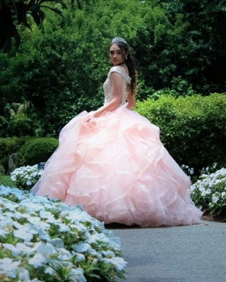 Layered Tulle Crystal Beading Off-the-shoulder Pink Quinceanera Dresses_5