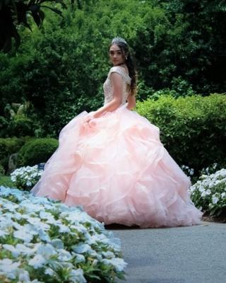 Vestidos de quinceañera rosa con abalorios de cristal de tul en capas_5