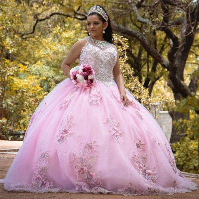 Sleeveless Ball Gown Beading Floral Appliques Pink Quinceanera Dresses_1