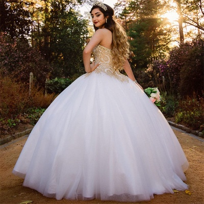 Sweetheart Gold Appliques Sleeveless White Quinceanera Dress_2