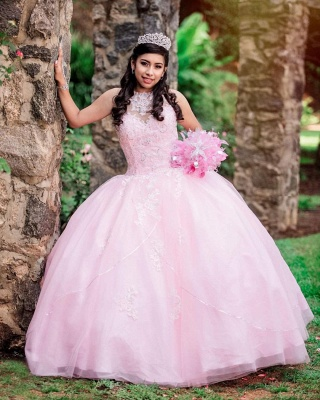 Princess High-Neck Sleeveless Appliques Beadings Pink Quinceanera Dress_3