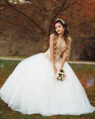 Sweetheart Gold Appliques Sleeveless White Quinceanera Dress_5