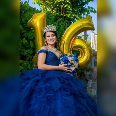 Correas espaguetis Apliques de encaje Crystal Tul Vestidos de quinceañera con volantes_6