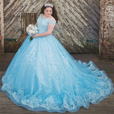 Off the Shoulder Sweetheart Appliques Quinceanera Dress_1