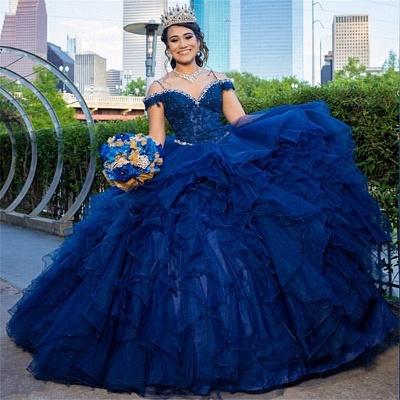 Correas espaguetis Apliques de encaje Crystal Tul Vestidos de quinceañera con volantes_1