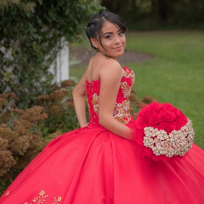 Appliques Strapless Red Sweep Train Ball Gown Quince Dresses_3