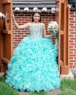 Vestido de fiesta Vestido de novia de quinceañera sin tirantes con volantes_6