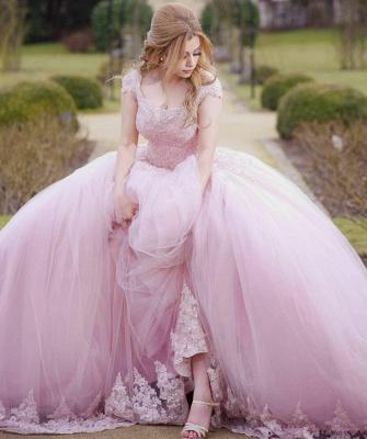 Vestido de fiesta Vestido de fiesta de quinceañera de tul con cuello redondo_4