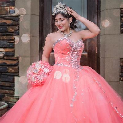 Vestido de fiesta de tul de novia sin mangas con abalorios vestido de quinceañera rosa_2