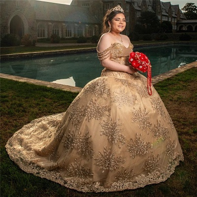 Glamorous Off-the-shoulder Appliques Court Train Quinceanera Dresses_2