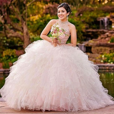 Tulle Halter Sleeveless Ruffles Beading Quinceanera Dress_1
