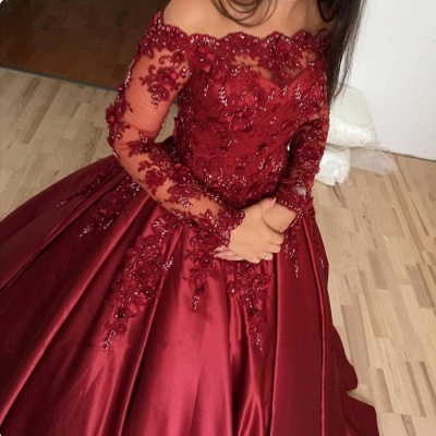 Off-the-shoulder Long Sleeves Lace Appliques Burgundy Quince Dresses_3