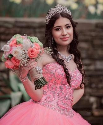 Vestido de fiesta de quinceañera con cuentas sin tirantes y maravilloso vestido de bola de novia de tul_2
