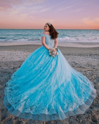 Off the Shoulder Sweetheart Appliques Quinceanera Dress_5