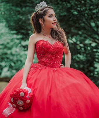 Stylish Sweetheart Beading Appliques Red Quinceanera Dress_2