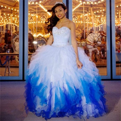 Stylish Ball Gown Tulle Sweetheart Beading Long Quinceanera Dress_1