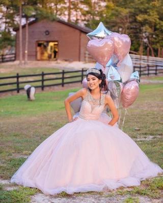 Princess Jewel Sleeveless Beadings Sequins Long Quinceanera Dress_2