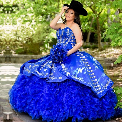 Unique Floral Appliqued Strapless Sweetheart Ruffles Tulle Royal Blue Quince Dresses_1