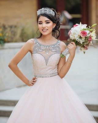 Princess Jewel Sleeveless Beadings Sequins Long Quinceanera Dress_5