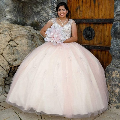 Pretty V-neck Cap Sleeves Beading Long Quinceanera Dresses_1