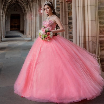 Wonderful Tulle Sweetheart Strapless Beading Ball Gown Quinceanera Dress_5