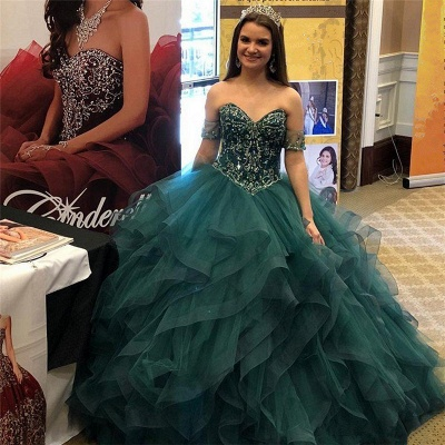 Strapless Beading Layers Tulle Green Ball Gown Quinceanera Dresses_2