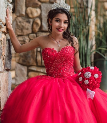 Stylish Sweetheart Beading Appliques Red Quinceanera Dress_3