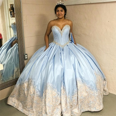 Vintage Appliqued Sweetheart Strapless Draped Ball Gown Quince Dresses_1
