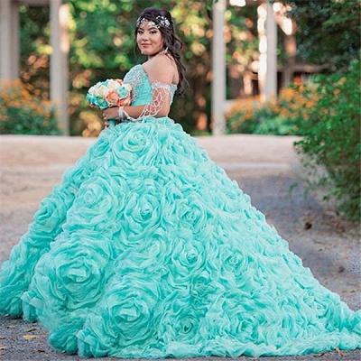 Elegante estampado de flores sin mangas vestido largo de quinceañera_2