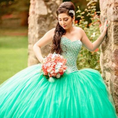 Vestido de fiesta de tul Vestido de quinceañera con lentejuelas sin mangas y abalorios sin mangas_4