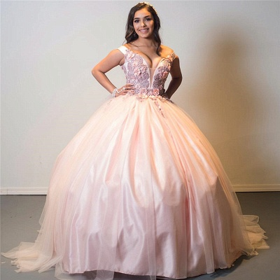 Off-the-shoulder Floral Appliques Ball Gown Pink Quinceanera Dresses_1