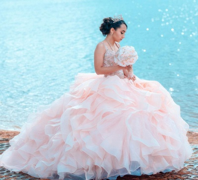 Straps Sweetheart Ruffles Beading Long Quinceanera Dress_5