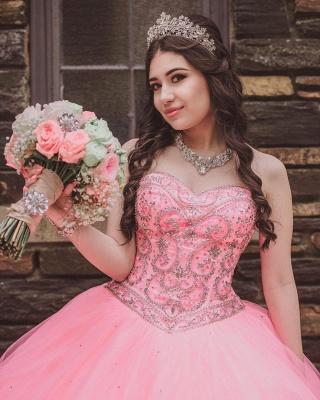 Vestido de fiesta de quinceañera con cuentas sin tirantes y maravilloso vestido de bola de novia de tul_4