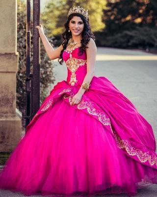 Ball Gown Sweetheart Sleeveless Gold Appliques Hot Pink Quinceanera Dress_4