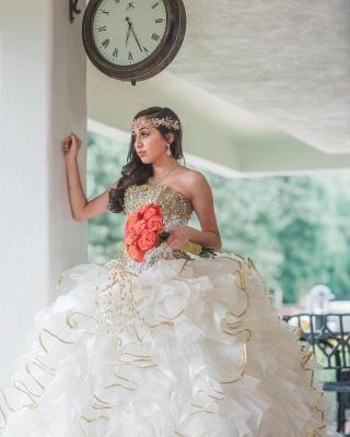 Vestido de fiesta sin tirantes abalorios volantes vestido de quinceañera_5