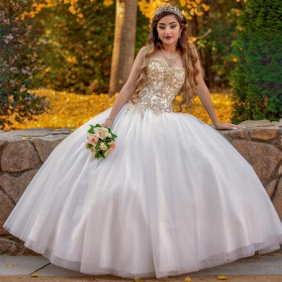 Sweetheart Gold Appliques Sleeveless White Quinceanera Dress_1