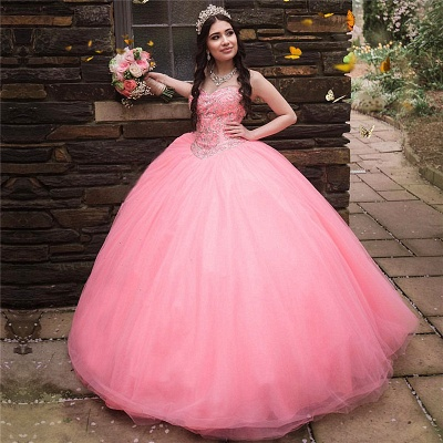 Wonderful Tulle Sweetheart Strapless Beading Ball Gown Quinceanera Dress_1