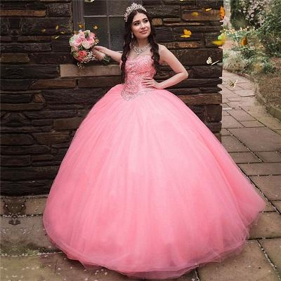 Vestido de fiesta de quinceañera con cuentas sin tirantes y maravilloso vestido de bola de novia de tul_1