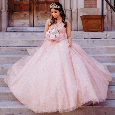 Lovely Lace Appliques Sweetheart Pink Pearls Long Quinceanera Dresses_1