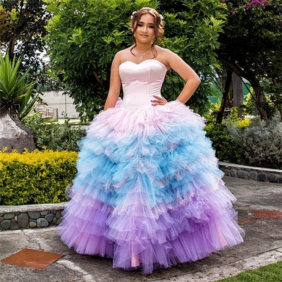 Sweetheart Strapless Layers Pink Blue Gradient Tulle Quince Dresses_1