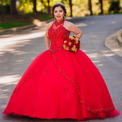 Pretty Ball Gown High-Neck Appliques Sleeveless Red Quinceanera Dress_2