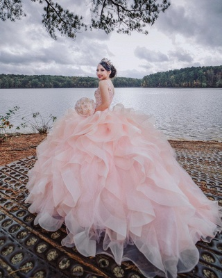 Straps Sweetheart Ruffles Beading Long Quinceanera Dress_4
