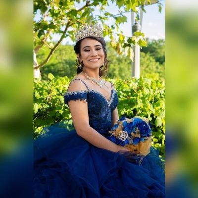 Correas espaguetis Apliques de encaje Crystal Tul Vestidos de quinceañera con volantes_3