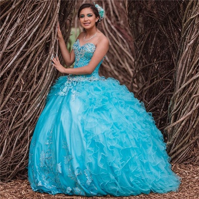 Blue Tulle Sweetheart Appliques Beading Quinceanera Dress_1