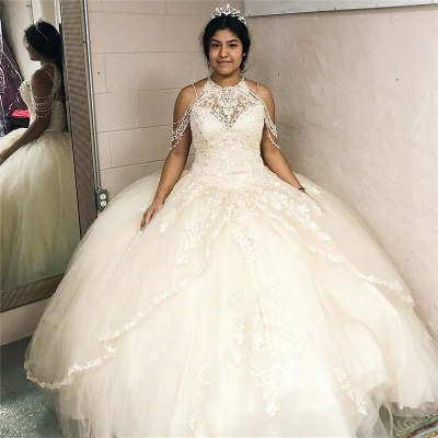 Halter Lace Appliques White Tulle Ball Gown Quinceanera Dresses