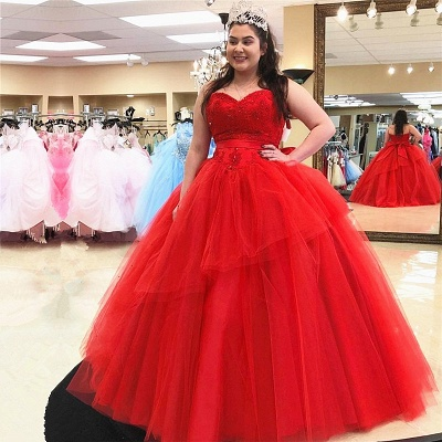 Sweetheart Appliques Tulle Ball Gown Red Quinceanera Dresses
